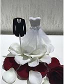 baratos Vestidos para Damas de Honra Junior-Decorações de Bolo Casamento Casamento Casal Clássico Papel de alta qualidade Casamento Festa com Perola Imitação Renda 1 PPO