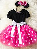 Χαμηλού Κόστους Βρεφικά φορέματα-Νήπιο Κοριτσίστικα Καθημερινό Καθημερινά Αργίες Πουά Πολυεπίπεδο Κοντομάνικο Φόρεμα Ρουμπίνι / Βαμβάκι
