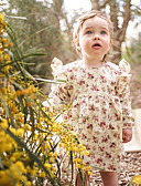 povoljno Haljinice za bebe-Dijete Djevojčice Jednostavan / Vintage Dnevno Jednobojni / Cvjetni print Kratkih rukava Regularna Normalne dužine Pamuk / Lan / Bambus vlakna Haljina Blushing Pink / Dijete koje je tek prohodalo