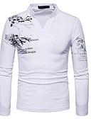 Χαμηλού Κόστους Ανδρικά μπλουζάκια και φανελάκια-Ανδρικά T-shirt Κινεζικό στυλ - Βαμβάκι Γραφική Στρογγυλή Λαιμόκοψη Λεπτό Στάμπα Μαύρο / Μακρυμάνικο / Άνοιξη / Φθινόπωρο