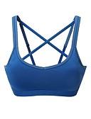 baratos Relógios de quartzo-Mulheres Sports Bra Top Sutiã Esportivo Corrida Esticar Acolchoado Sustentação Leve Branco Azul Sólido