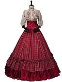 povoljno Stare svjetske nošnje-Viktoriánus Renesansa Kostim Žene Izgledi Red+Golden Vintage Cosplay 50% Cotton / 50% poliester 3/4 rukava Puf