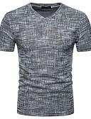 billige Herreskjorter-Tynn V-hals T-skjorte Herre - Ensfarget Grunnleggende / Gatemote Brun / Kortermet / Vår / Sommer