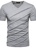 baratos Camisetas & Regatas Masculinas-Homens Camiseta Básico / Moda de Rua Sólido Decote V Delgado Preto / Manga Curta / Primavera / Verão