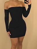 Χαμηλού Κόστους Μίνι Φορέματα-Γυναικεία Πάρτι Κομψό στυλ street Πολύ στενό Εφαρμοστό Θήκη Φόρεμα - Συμπαγές Χρώμα, Εξώπλατο Μίνι Τιράντες Ώμοι Έξω Μαύρο / Sexy
