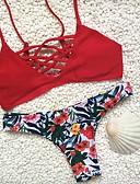 baratos Biquínis e Roupas de Banho Femininas-Mulheres Floral Básico Com Alças Vermelho Biquíni Roupa de Banho - Floral S M L