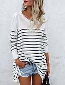 billige T-skjorter til damer-Bomull Løstsittende T-skjorte Dame - Stripet Grunnleggende Hvit / Vår / Høst / fin Stripe