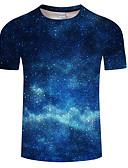 ราคาถูก เสื้อยืดและเสื้อกล้ามผู้ชาย-สำหรับผู้ชาย ขนาดพิเศษ เสื้อเชิร์ต ลายพิมพ์ คอกลม กาแล็คซี่ สีน้ำเงิน / แขนสั้น / ฤดูร้อน