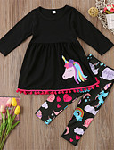 cheap Girls' Clothing Sets-Toddler Girls' Casual Basic Sports Going out Unicorn Animal Animal Pattern Printing Long Sleeve Regular Regular Cotton Clothing Set Black / Cute