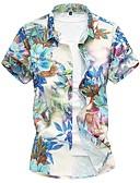 ราคาถูก เสื้อเชิ้ตผู้ชาย-สำหรับผู้ชาย เชิร์ต ฝ้าย ลายดอกไม้ สีน้ำเงิน / แขนสั้น / ฤดูใบไม้ผลิ / ฤดูร้อน