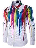 povoljno Muške košulje-Majica Muškarci Dnevno Geometrijski oblici Klasični ovratnik Slim, Print Obala / Dugih rukava / Ljeto