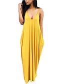 Χαμηλού Κόστους Μακριά Φορέματα-Γυναικεία Αργίες Εξόδου Μπόχο Φαρδιά T Shirt Φόρεμα - Μονόχρωμο Μακρύ Τιράντες / Sexy