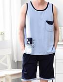 ราคาถูก ชุดนอน&ชุดคลุมอาบน้ำสำหรับผู้ชาย-สำหรับผู้ชาย พื้นฐาน ชุด เสื้อนอน รูปเรขาคณิต สีน้ำเงิน XL XXL XXXL / คอกลม