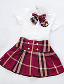 זול סטים של ביגוד לבנות-סט של בגדים שרוולים קצרים משובץ בית הספר יום יומי בנות פעוטות