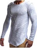 billige Todelt dress til damer-Bomull Tynn Rund hals T-skjorte Herre - Ensfarget Grunnleggende / Gatemote Sport Hvit / Langermet / Lang