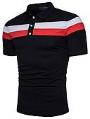 ราคาถูก เสื้อโปโลสำหรับผู้ชาย-สำหรับผู้ชาย Polo ซึ่งทำงานอยู่ ฝ้าย พื้นฐาน คอเสื้อเชิ้ต ลายบล็อคสี ขาว / แขนสั้น / ฤดูร้อน