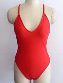 billige Bikinis-Dame Aktiv Med stropper Rød Rosa Gul En del Badetøy - Helfarge Åpen rygg Grunnleggende M L XL Rød / Sexy