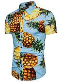 billige Kjoler med trykk-Bomull Klassisk krage Skjorte Herre - Frukt Strand Ananas Hvit / Kortermet / Sommer