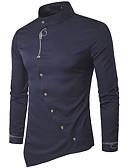 ราคาถูก เสื้อเชิ้ตผู้ชาย-สำหรับผู้ชาย เชิร์ต Chinoiserie ฝ้าย พื้นฐาน ปกตั้ง เพรียวบาง สีพื้น สีเทา / แขนยาว / ฤดูใบไม้ผลิ
