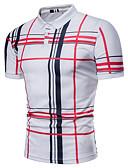 baratos Camisas Masculinas-Homens Tamanhos Grandes Polo Básico Estampado, Xadrez Colarinho de Camisa Branco / Manga Curta / Verão
