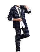 cheap Boys' Clothing Sets-Kids Boys' Simple Casual Basic Party Daily Solid Colored Check Formal Style Retro Stylish Long Sleeve Regular Regular Cotton Clothing Set Navy Blue