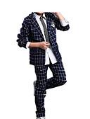 お買い得  男児 ウェアセット-子供 男の子 シンプル カジュアル ベーシック パーティー 日常 ソリッド チェック フォーマル レトロ スタイリッシュ 長袖 レギュラー レギュラー コットン アンサンブル ネイビーブルー