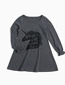 Χαμηλού Κόστους Φορέματα για κορίτσια-Παιδιά Κοριτσίστικα Απλός Καθημερινά Στάμπα Βασικό Μακρυμάνικο Φόρεμα Γκρίζο / Βαμβάκι