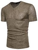 ราคาถูก เสื้อยืดและเสื้อกล้ามผู้ชาย-สำหรับผู้ชาย เสื้อเชิร์ต พื้นฐาน ฝ้าย ลายเลื่อม คอวี สีพื้น สีดำ / แขนสั้น / ฤดูร้อน