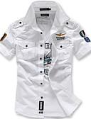 Χαμηλού Κόστους Βραδινά Φορέματα-Ανδρικά Πουκάμισο Κομψό στυλ street / Στρατιωτικό Γεωμετρικό Λεπτό Θαλασσί / Αμάνικο
