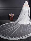 ราคาถูก ม่านสำหรับงานแต่งงาน-Two-tier Voiles & Sheers / การเย็บปักถักร้อย ผ้าคลุมหน้าชุดแต่งงาน ผ้าคลุมหน้าในโบสถ์ กับ ลายปัก Tulle / คลาสสิก