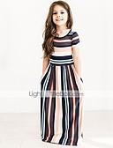 זול שמלות לבנות-שמלה שרוולים קצרים פסים ליציאה פעיל בנות פעוטות / כותנה / חמוד