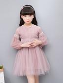 Χαμηλού Κόστους Print Dresses-Παιδιά Κοριτσίστικα Απλός Βίντατζ Βασικό Πάρτι Καθημερινά Μονόχρωμο Ζακάρ Δαντέλα Κεντητό Μακρυμάνικο Φόρεμα Λευκό / Βαμβάκι