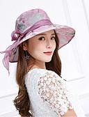 ราคาถูก หมวกสตรี-สำหรับผู้หญิง ลายดอกไม้ ลูกไม้ ลูกไม้ โบว์ ดวงอาทิตย์หมวก ฤดูใบไม้ผลิ ฤดูร้อน สีม่วง สีกากี / น่ารัก / ผ้า