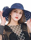 ราคาถูก หมวกสตรี-สำหรับผู้หญิง Kentucky Derby สีพื้น ลูกไม้ ลูกไม้ ดวงอาทิตย์หมวก ฤดูร้อน สีดำ ขาว สีแดงชมพู / น่ารัก / ผ้า