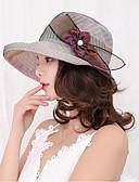 ราคาถูก หมวกสตรี-สำหรับผู้หญิง Kentucky Derby สีพื้น ลูกไม้ ลูกไม้,วินเทจ-ดวงอาทิตย์หมวก ผ้าขนสัตว์สีธรรมชาติ สีม่วง