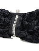 Χαμηλού Κόστους Μηχανικά Ρολόγια-Γυναικεία Βολάν Μετάξι Βραδινή τσάντα Λευκό / Μαύρο
