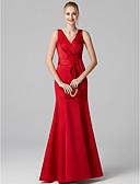 olcso Maxi ruhák-Sellő fazon V-alakú Földig érő Szatén Ruha val vel Ráncolt által TS Couture®