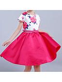זול שמלות לבנות-שמלה ללא שרוולים פפיון / דפוס אחיד / פרחוני / טלאים Party / חגים פשוט / וינטאג' / בסיסי בנות ילדים / כותנה