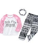 ราคาถูก ชุดเด็กผู้หญิง-Toddler เด็กผู้หญิง ไม่เป็นทางการ ทุกวัน ลายบล็อคสี ลายพิมพ์ แขนยาว ฝ้าย ชุดเสื้อผ้า ขาว