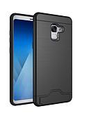 ราคาถูก เคสสำหรับโทรศัพท์มือถือ-Case สำหรับ Samsung Galaxy A8 2018 / A8+ 2018 Card Holder / Shockproof / with Stand ปกหลัง สีพื้น Hard พีซี