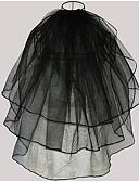 ราคาถูก ม่านสำหรับงานแต่งงาน-Three-tier สไตล์สมัยใหม่ / การแต่งงาน / สไตล์เรียบง่าย ผ้าคลุมหน้าชุดแต่งงาน Elbow Veils กับ ตะเข็บ / Splicing Tulle / Angel cut / Waterfall