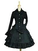 povoljno Lolita haljine-Gothic Lolita Classic Lolita Rococo Haljine Žene Djevojčice Japanski Cosplay Kostimi Crn Jednobojni Puf Dugih rukava Do koljena / Classic / Tradicionalna Lolita