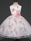 Χαμηλού Κόστους Λουλουδάτα φορέματα για κορίτσια-Παιδιά Κοριτσίστικα Γλυκός Πάρτι Φλοράλ Πολυεπίπεδο Ζακάρ Αμάνικο Φόρεμα Λευκό