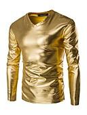 billiga T-shirts och brottarlinnen till herrar-Enfärgad Bomull T-shirt - Grundläggande Herr V-hals Smal Guld / Långärmad