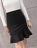 Χαμηλού Κόστους Γυναικείες Φούστες-Γυναικεία Μεγάλα Μεγέθη Εφαρμοστό Αργίες / Εξόδου Φούστες - Μονόχρωμο Με Βολάν Ψηλή Μέση Μαύρο Ρουμπίνι M L XL