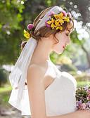ราคาถูก ม่านสำหรับงานแต่งงาน-ชั้นเดียว สไตล์เรียบง่าย ผ้าคลุมหน้าชุดแต่งงาน Elbow Veils กับ จับย่น Tulle / Straight Cut