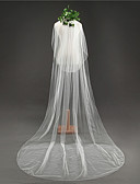 ราคาถูก ม่านสำหรับงานแต่งงาน-Two-tier Klasszikus ผ้าคลุมหน้าชุดแต่งงาน ผ้าคลุมหน้าในโบสถ์ กับ ตะเข็บ Tulle / คลาสสิก