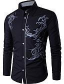 ราคาถูก เสื้อเชิ้ตผู้ชาย-สำหรับผู้ชาย เชิร์ต ธุรกิจ ฝ้าย สีดำ / แขนยาว