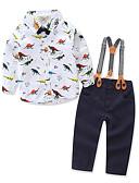 ราคาถูก เครื่องประดับสำหรับเด็ก-Toddler เด็กผู้ชาย ง่าย ไม่เป็นทางการ ปาร์ตี้ ทุกวัน สัตว์ กีฬา ลายสัตว์ต่างๆ แขนยาว ปกติ ปกติ ฝ้าย ชุดเสื้อผ้า ขาว