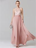 Χαμηλού Κόστους Φορέματα Χορού Αποφοίτησης-Γραμμή Α Illusion Seckline Μακρύ Σιφόν / Δαντέλα Λουλουδάτο / Κομψό / Χρώματα Pastel Χοροεσπερίδα / Επίσημο Βραδινό Φόρεμα 2020 με Κέντημα
